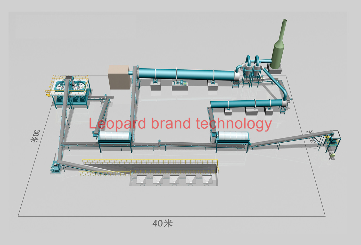 Leopard branded GY dry-powder compound fertilizer rolling granulation line